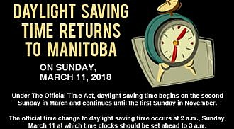 DAYLIGHT SAVING TIME RETURNS TO MANITOBA ON SUNDAY, MARCH 11, 2018