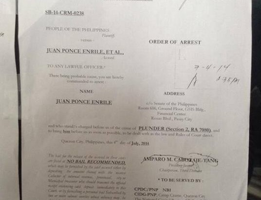 Arrest warrant for Sen. Juan Ponce Enrile