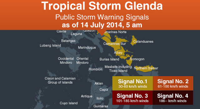 Glenda gains strength, Signal No. 2 up in 5 Bicol provinces