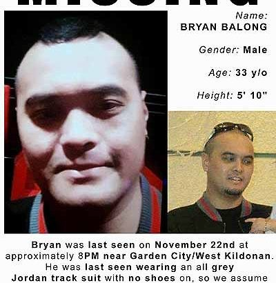 Search for Bryan Balong on Sat, Dec 3rd