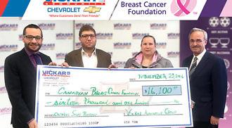 Vickar Autogroup Inc. donates $16,100 to Canadian Breast Cancer Foundation