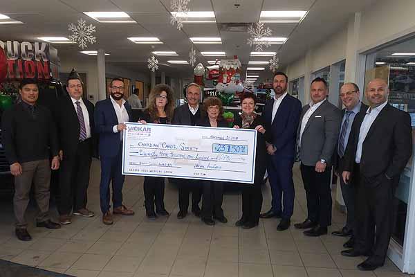 Vickar Automotive Group donates $23,150 to Canadian Cancer Society