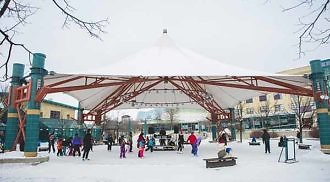 It's officially winter: the canopy rink is open for skating!
