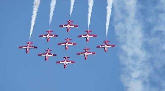 The Canadian Forces Snowbirds cross-Canada tour flyovers in Winnipeg