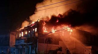 Hardware store caught fire in the midst of Typhoon Dante
